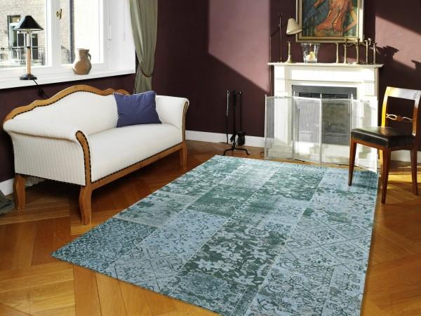 Alanis Allover 486 türkis Vintage Teppich modern mit Ornamenten